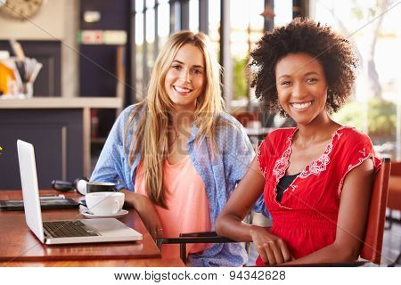 Two women with computer in a coffee shop, portrait