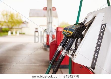 Pumps at a petrol station, close up