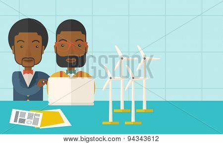 Two black workers using laptop with windmills as power generator. A Contemporary style with pastel palette, soft blue tinted background. Vector flat design illustration. Horizontal layout with text