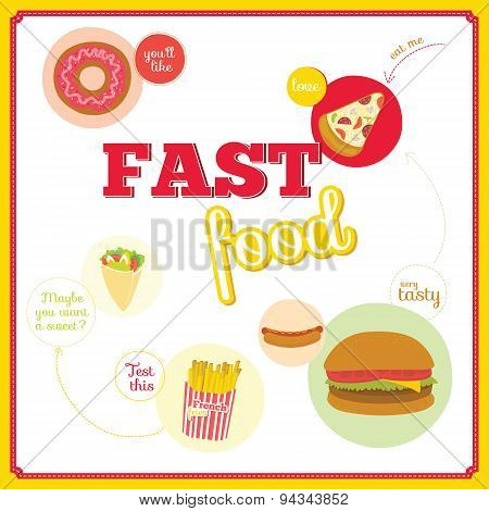 Vector set of cute design elements with fast food icons in circl
