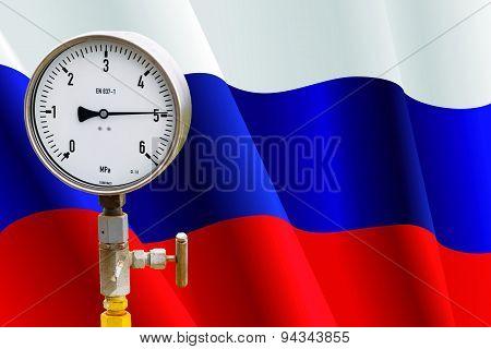 Wellhead Pressure Gauge On Flag Russia