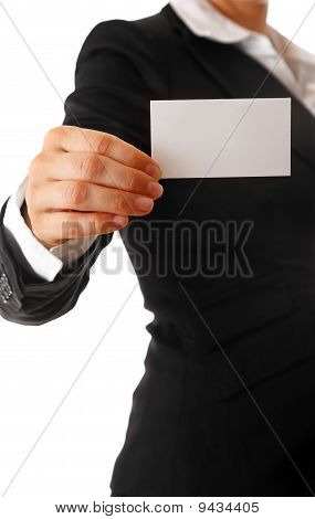 modern business woman with blank business card in hand
