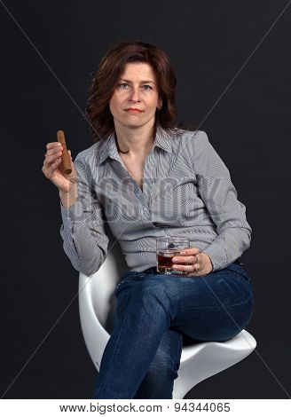 Middle Aged Woman With Whiskey