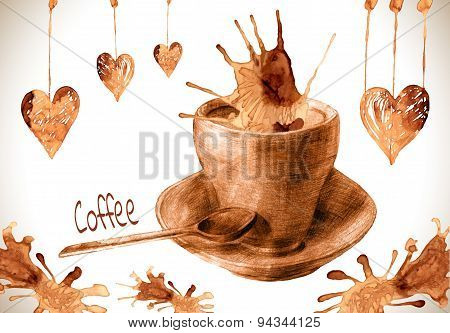 Coffee paint cup, splashes and harts isolated on background.