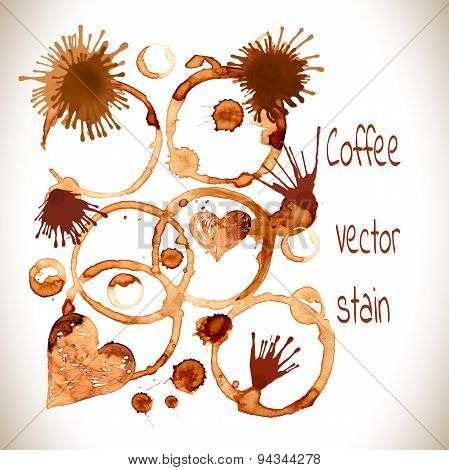 Coffee paint stains, splashes and harts isolated on white background