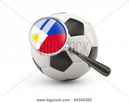 Football With Magnified Flag Of Philippines
