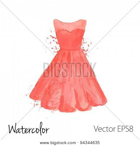Vector watercolor painted red dress with splashes