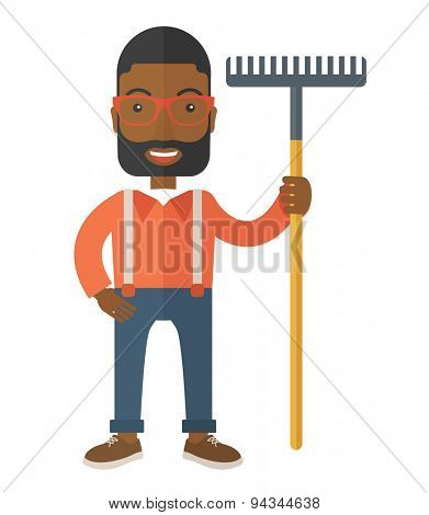 A black man standing holding a rake ready for gardening. A Contemporary style. Vector flat design illustration isolated white background. Vertical layout.