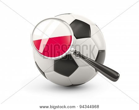 Football With Magnified Flag Of Poland