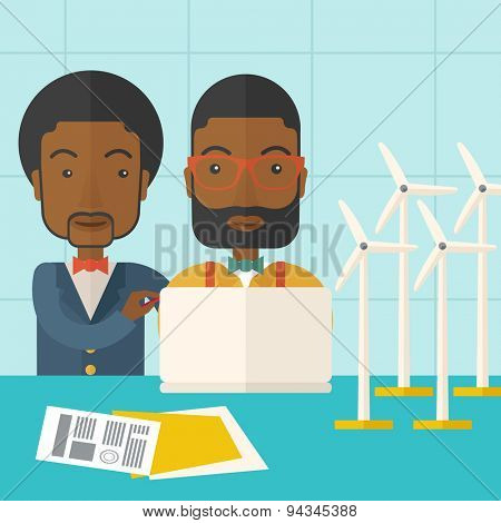 Two black workers using laptop with windmills as power generator. A Contemporary style with pastel palette, soft blue tinted background. Vector flat design illustration. Square layout.