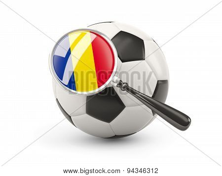 Football With Magnified Flag Of Romania