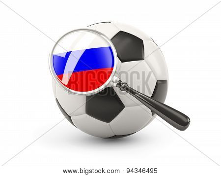 Football With Magnified Flag Of Russia