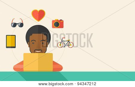 An african man making a purchase using laptop with internet in online shopping with promo discount. A Contemporary style with pastel palette, soft beige tinted background. Vector flat design