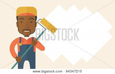 A young african glass cleaner wearing hat holding stick rubber scraper. A Contemporary style. Vector flat design illustration isolated white background. Horizontal layout with text space in right side