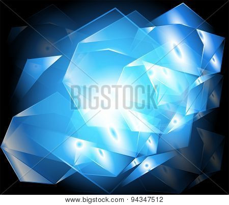 Abstract yellow background blue lighting of geometric shapes in abstract modern art design