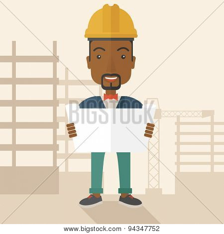 A young african-american engineer holding while reviewing the construction plan. A Contemporary style with pastel palette, soft beige tinted background. Vector flat design illustration. Square layout.