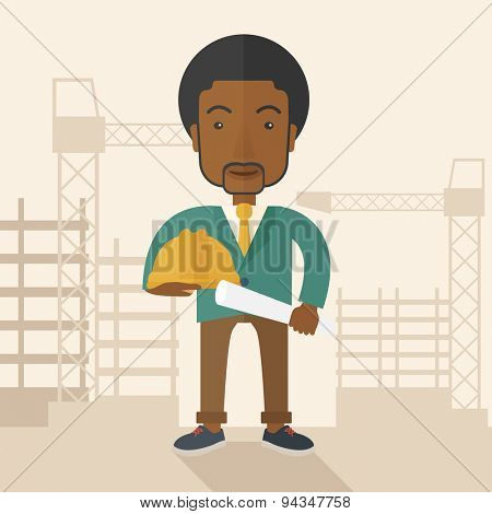 A happy young african construction worker holding hard hat and blueprint plan. A Contemporary style with pastel palette, soft beige tinted background. Vector flat design illustration. Square layout.