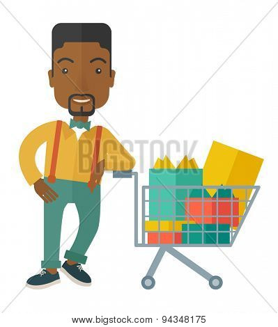 A happy african-american man standing with his shopping cart. A contemporary style. Vector flat design illustration with isolated white background. Vertical layout