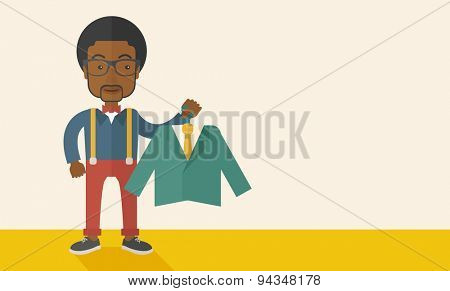 A happy young african man chooses a perfect clothe to buy for him to wear. A Contemporary style with pastel palette, soft beige tinted background. Vector flat design illustration. Horizontal layout
