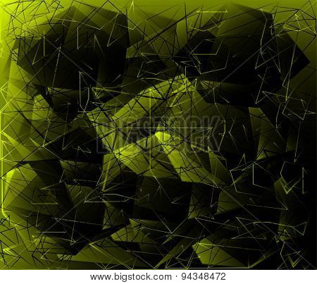 Polygonal Abstract geometrical dark green background