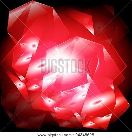 Red abstract geometrical background with burst light