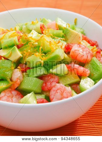 Shrimps Salad With Avocado And Cucumbers