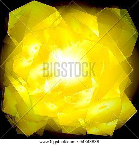 Yellow black abstract geometrical background burst light