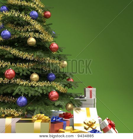 Christmas Tree With Presents Detail On Green