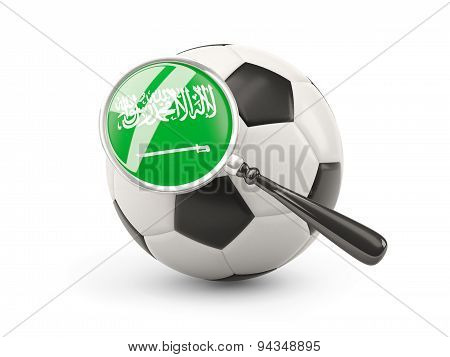 Football With Magnified Flag Of Saudi Arabia