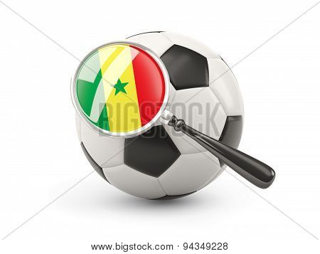 Football With Magnified Flag Of Senegal