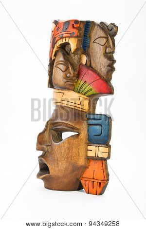 Indian Mayan Aztec Wooden Painted Mask With Roaring Jaguar And Human Profiles Isolated On White Back
