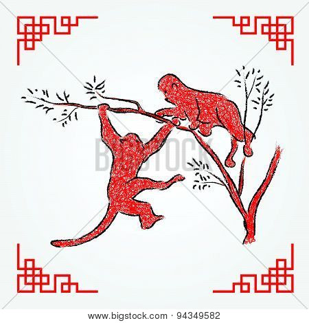 Red ink drawing line art , monkey zodiac