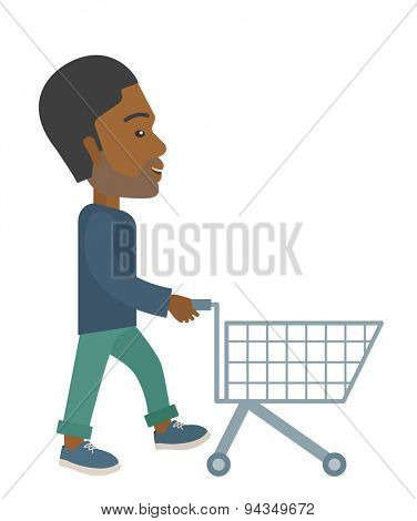 A handsome black guy pushing an empty cart. A contemporary style. Vector flat design illustration with isolated white background. Vertical layout