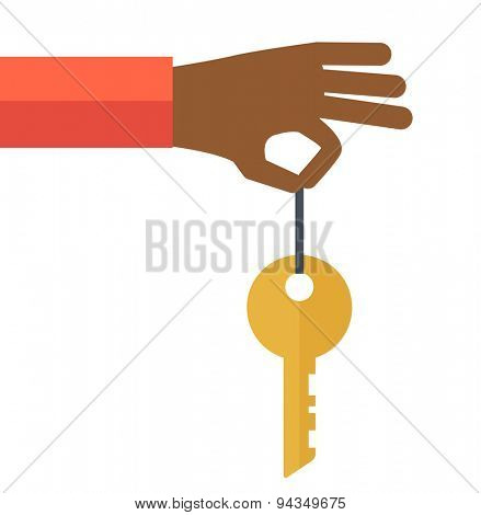 A black hand holding a key. A contemporary style. Vector flat design illustration with isolated white background. square layout