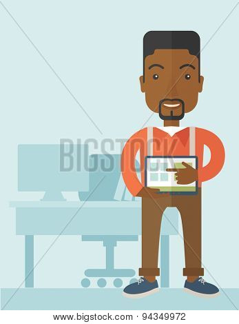 An african-american man standing while his hand pointing to the tablet to do his office presentation with the schedule of financial market. Business concept. A Contemporary style with pastel palette