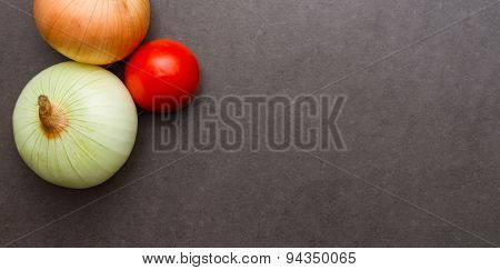 Onion On A Black Background.