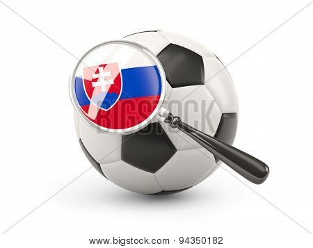Football With Magnified Flag Of Slovakia