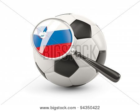 Football With Magnified Flag Of Slovenia