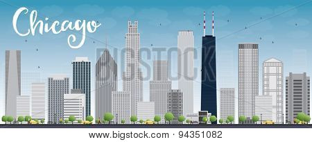 Chicago city skyline with grey skyscrapers and blue sky. Vector illustration