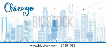 Outline Chicago city skyline with blue skyscrapers. Vector illustration