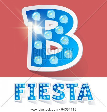 Funny lamp cartoon alphabet for party, holiday and celebration. Sticker style. Letter B