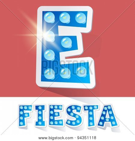 Funny lamp cartoon alphabet for party, holiday and celebration. Sticker style. Letter E