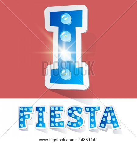 Funny lamp cartoon alphabet for party, holiday and celebration. Sticker style. Letter I
