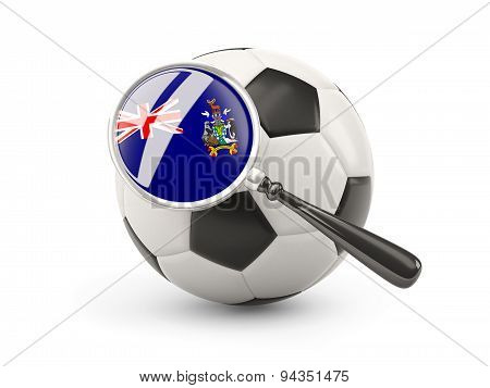 Football With Magnified Flag Of South Georgia And The South Sandwich Islands