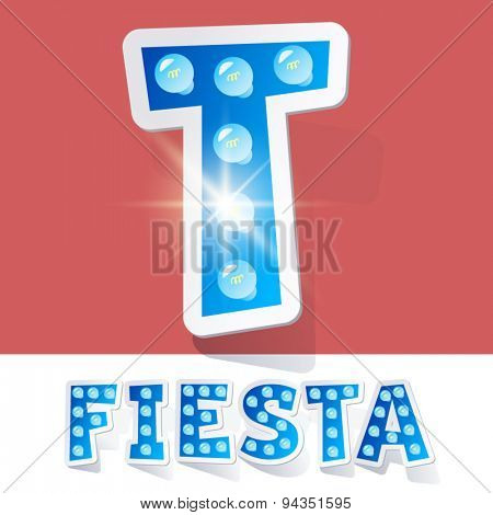 Funny lamp cartoon alphabet for party, holiday and celebration. Sticker style. Letter T