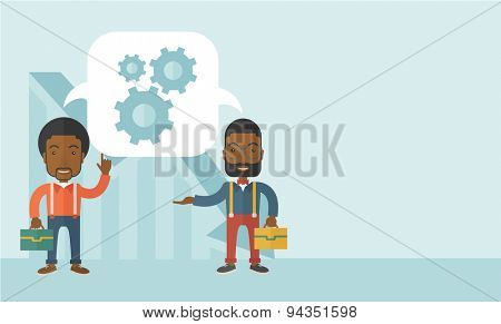 Two black men carrying bags thinking a new business in logistics. Brainstorming, speech bubble gears. Teamwork concept. A Contemporary style with pastel palette, soft blue tinted background. Vector