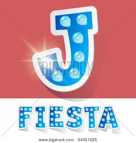 Funny lamp cartoon alphabet for party, holiday and celebration. Sticker style. Letter J