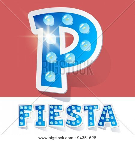 Funny lamp cartoon alphabet for party, holiday and celebration. Sticker style. Letter P