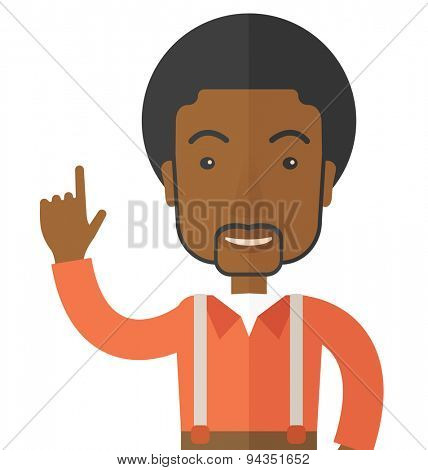 A young successful black man happy raising his one arm showing that he is number one. Winner concept contemporary style. Vector flat design illustration with isolated white background. Square layout.