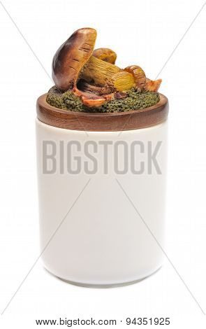 Ceramic jar with a lid shaped